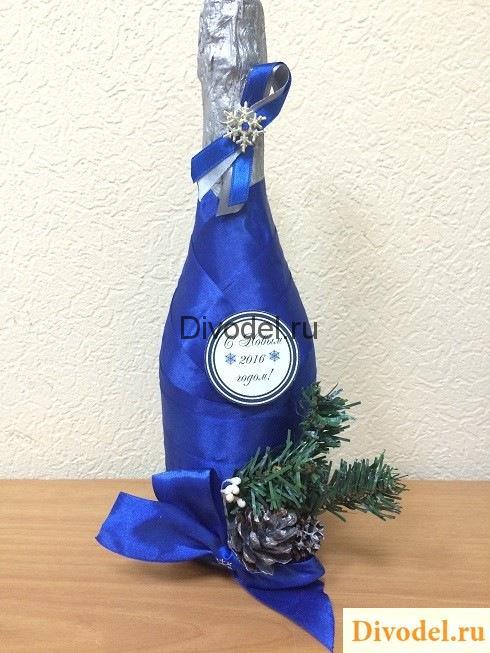 новогоднее оформление шампанского своими руками, декор шампанского, ноовгоднее шампанское из лент, новогоднее шампанское декор