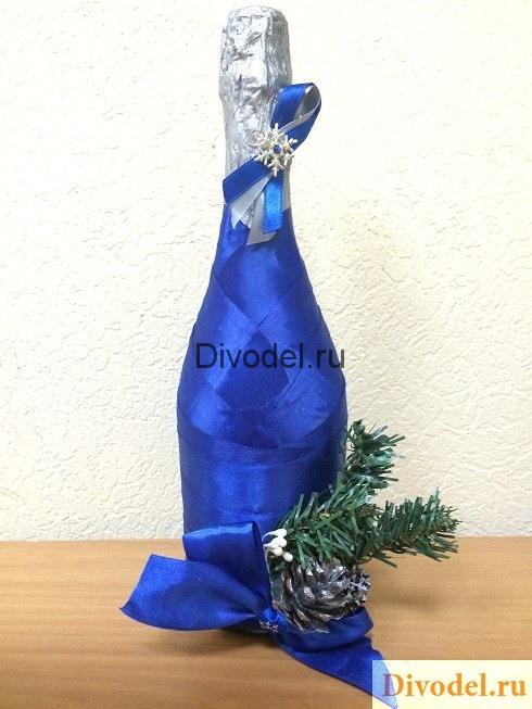 новогоднее оформление шампанского своими руками, декор шампанского, ноовгоднее шампанское из лент, новогоднее шампанское декор, новогоднее шампанское пошагово