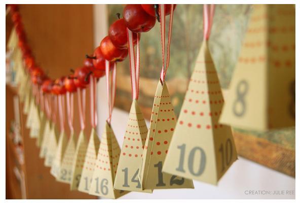 адвент календарь своими руками в форме гирлянды