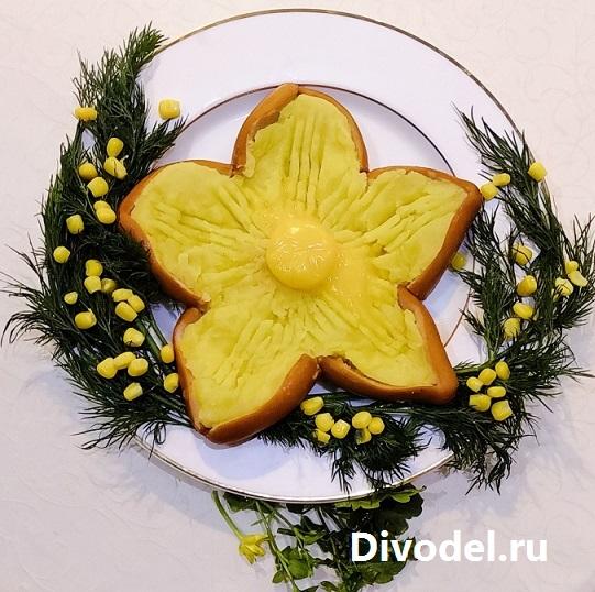 цветок из сосисек, блюда на 8 марта, завтрак на 8 марта, завтрак для любимой, рецепты на 8 марта, праздничные блюда на 8 марта