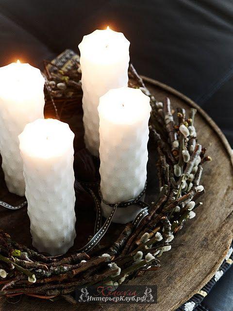 венок из вербы декор стола