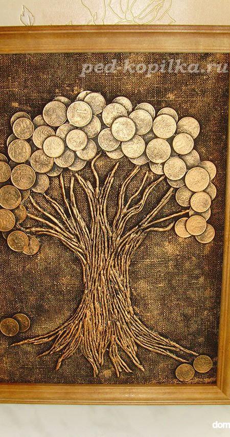 картина из монет, дерево на картине из монет
