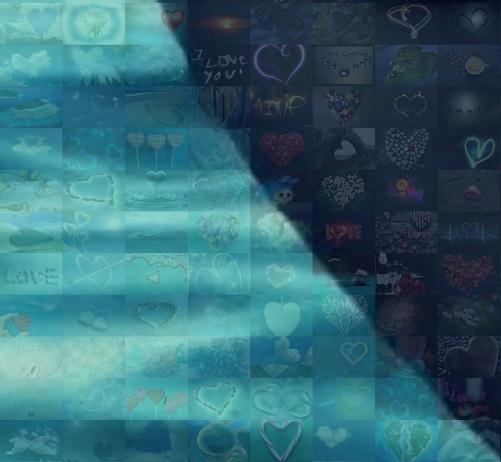 мозаика из сердечек вблизи