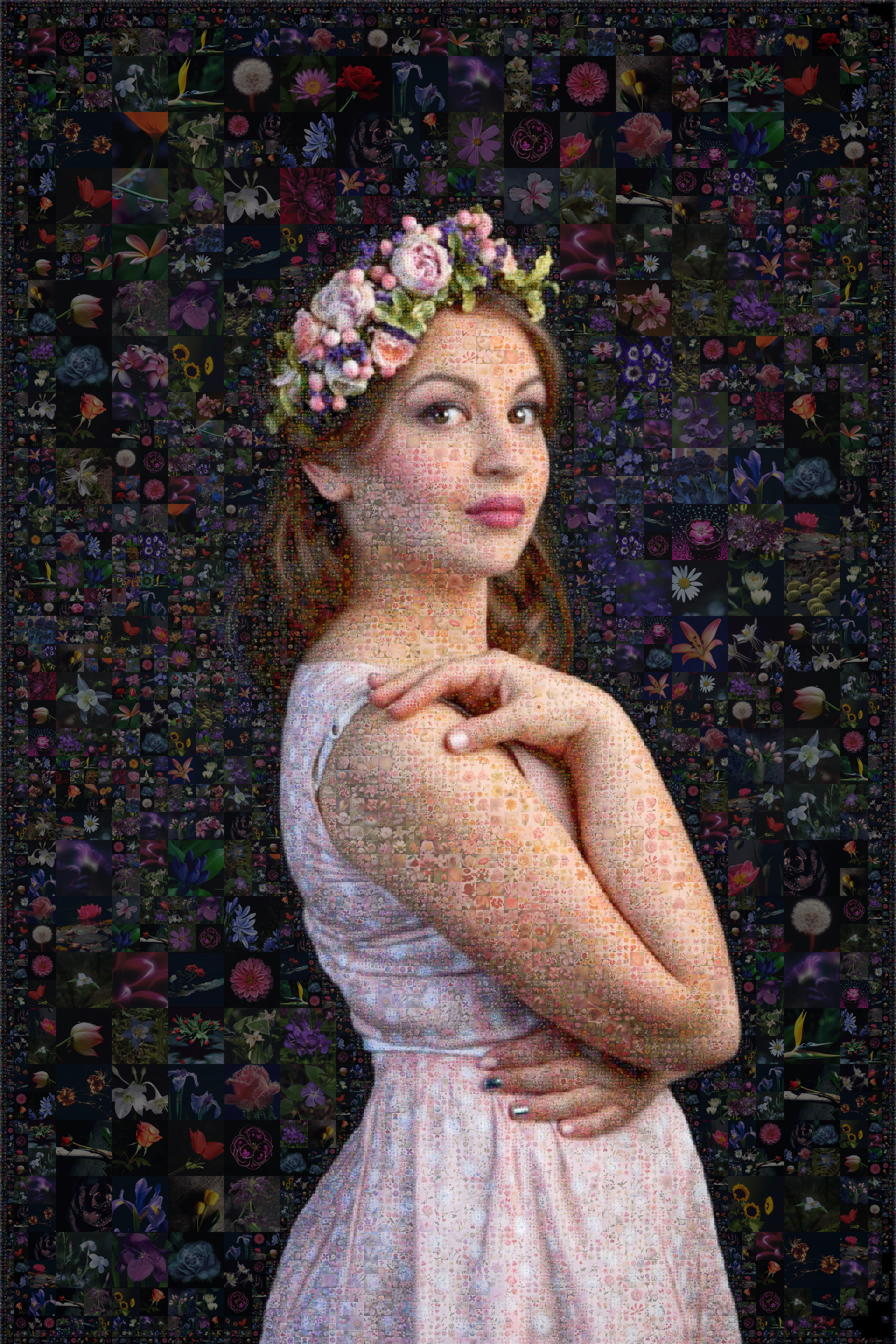 портрет-мозаика из цветов на заказ, мозаика из цветов, портрет из цветов