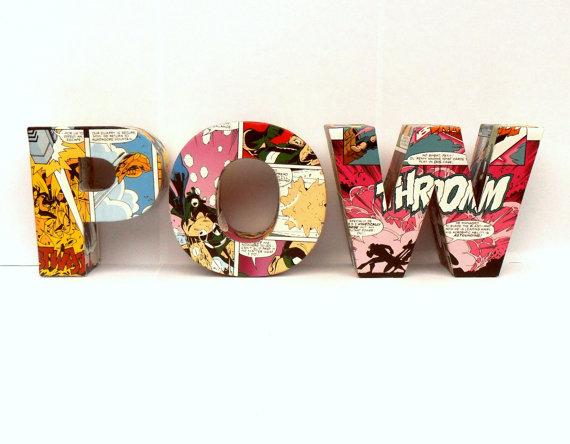 Объемные буквы для декора комнаты для подростка обклеены комиксами
