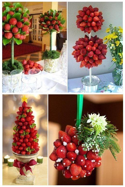 Необычное украшение из фруктов – дерево из фруктов для дня рождения или гавайской вечеринки или для свадьбы