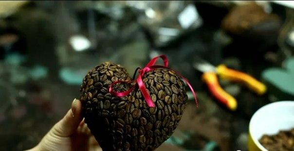 Как сделать сердце из кофейных зерен своими руками мастер-класс