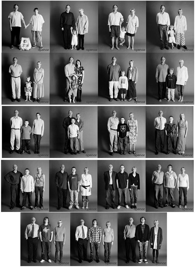 фотография семейная в течение нескольких лет в одной и той же позе - семейная летопись