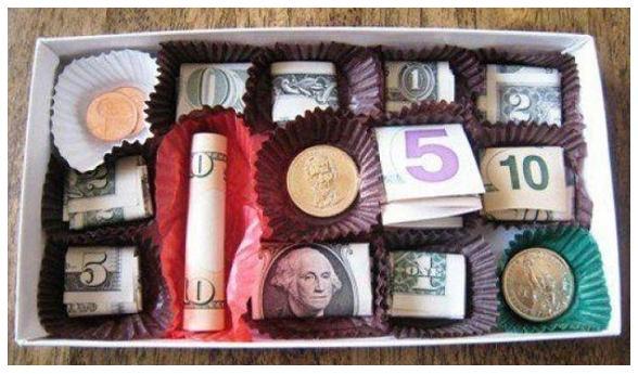 как дарить деньги на день рождения конфетами