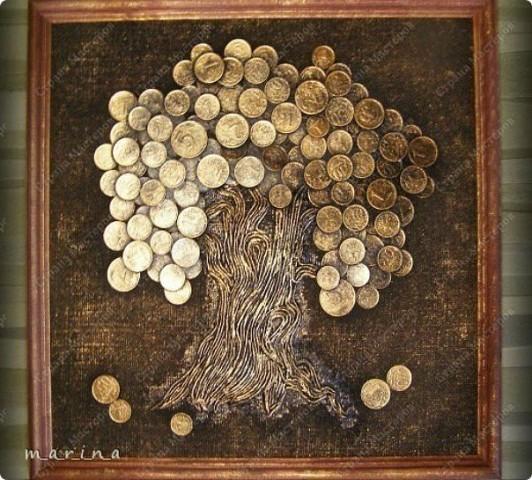 картина из монет, картина дерево из монет