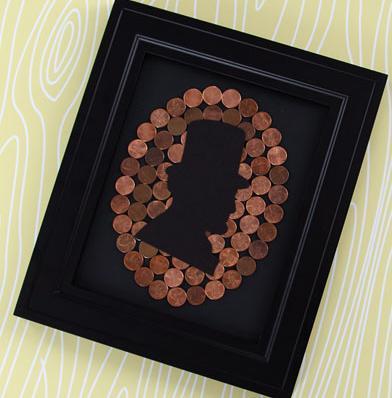 картина профиль из монет