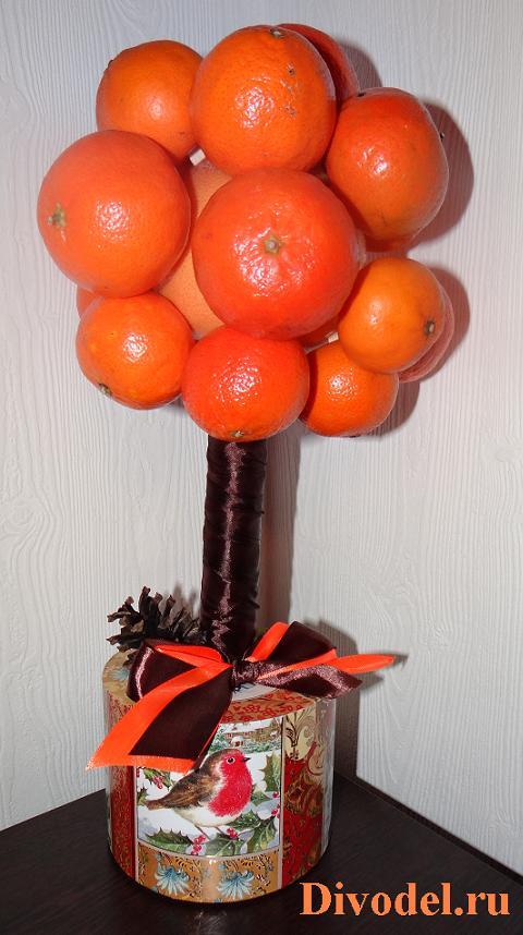 мандариновое дерево своими руками, топиарий из мандаринов, топиарий из мандаринов мастер-класс