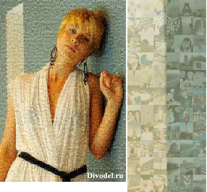 Необычный, оригинальный, креативный подарок на юбилей, свадьбу или день рождения - портрет-мозайка, составленная из фотографий.