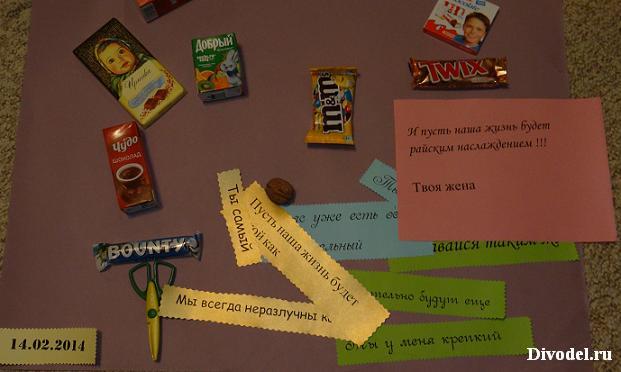 Плакат с шоколадками: печатаем текст
