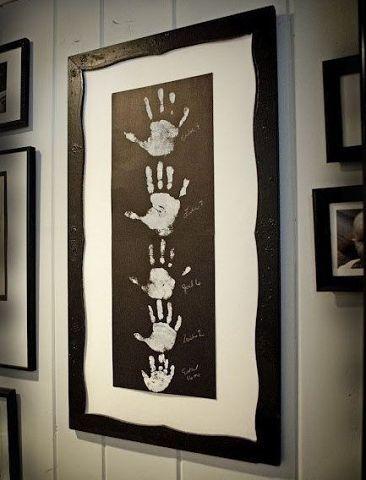 отличная идея душевного подарка для бабушки - картина из отпечатков ладоней семьи