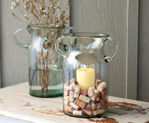пробки в интерьере: декор свеч пробками