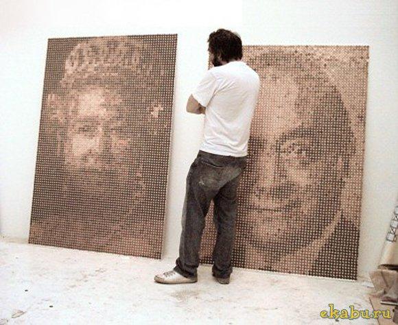картина из монет, портрет из монет