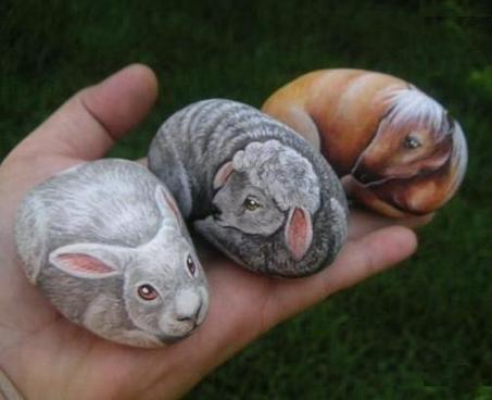Поделки из камней для сада своими руками или рисуем на камнях животных