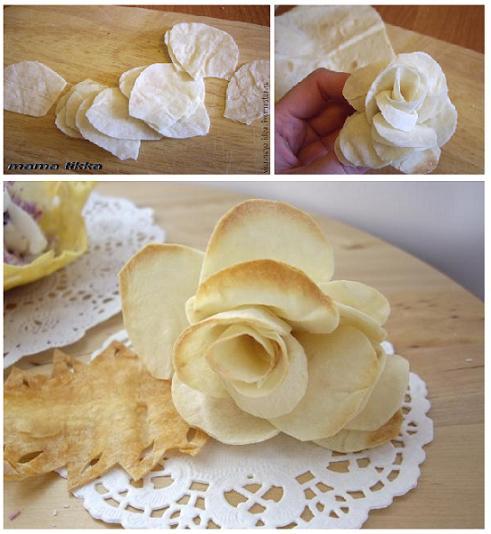 украшение еды: роза из лаваша