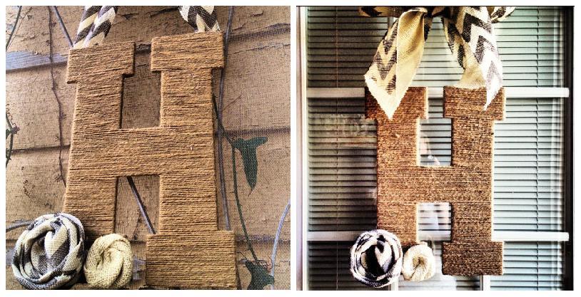 буквы своими руками из фанеры обмотоанной шерстяными нитками