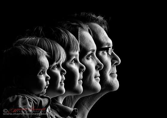 идея для семейной фотосессии - профили семьи