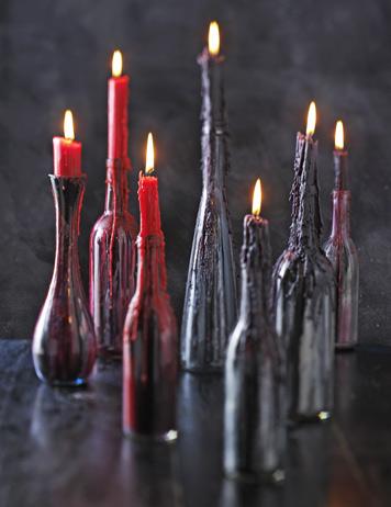 свечи к хэллоуин в бутылках