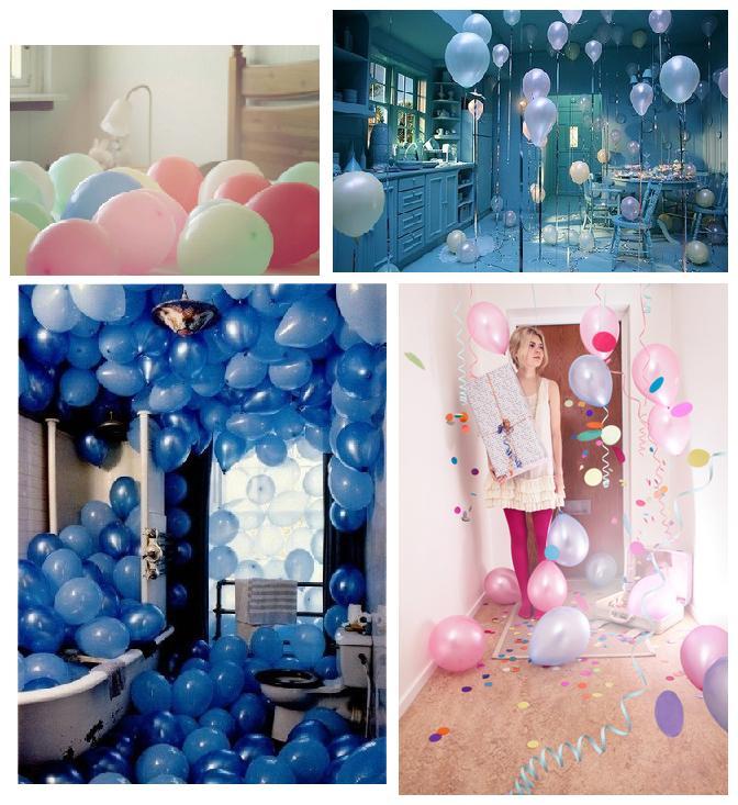 как сделать сюрприз - поздравление своими руками на 14 февраля или на день рождения для девушки - комната в воздушных шариках