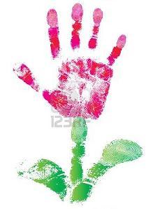 цветок из отпечатка детской ладошки как идея для открытки